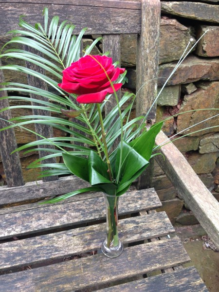 Single Long Stem Luxury Red Rose With Foliage In A Bud Vase 2200